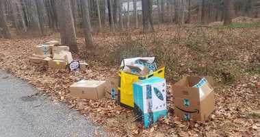 Amazon packages found dumped on the side of the road in Harding, N.J.
