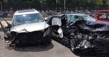 Cars involved in a deadly wrong-way crash on the Belt Parkway.