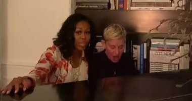 Michelle Obama and Ellen DeGeneres sing together