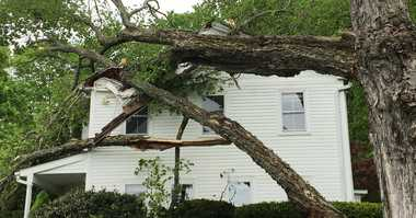 A storm sent this tree crashing into Connecticut home.