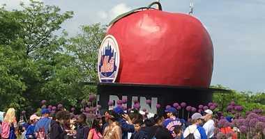 Mets fans outside of Citi Field