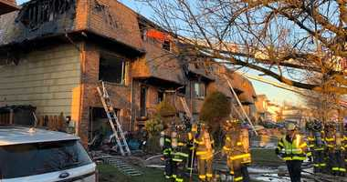 Five-alarm fire on Staten Island