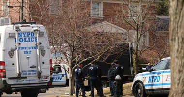 """Police stand near where reputed mob boss Francesco """"Franky Boy"""" Cali lived and was gunned down on March 14, 2019 in the Todt Hill neighborhood of the Staten Island"""