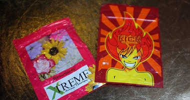 Packets of K2 or 'spice', a synthetic marijuana drug.