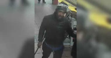 Cops are looking for a guy who hit a woman with pipe on the Herald Square subway platform.