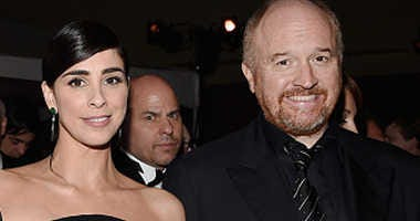 Comedians Sarah Silverman and Louis C.k. at the 88th Annual Academy Awards.