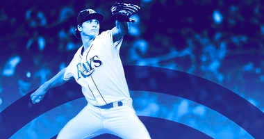Tyler Glasnow delivers a pitch for the Tampa Bay Rays.
