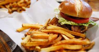 Hamburger and fries.