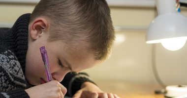 A student doing homework.