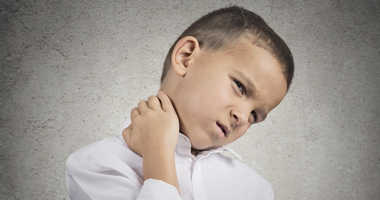 A child with neck pain.