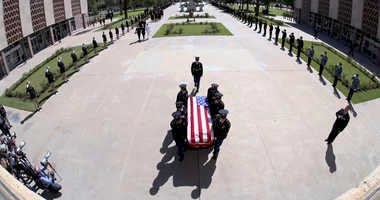 The Arizona National Guard carries the casket of Sen. John McCain, R-Ariz. during memorial service at the Arizona Capitol on Wednesday, Aug. 29, 2018, in Phoenix