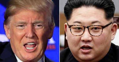 This combination of two file photos shows U.S. President Donald Trump, left, speaking during a roundtable discussion on tax cuts in Cleveland, Ohio, May 5, 2018 and North Korean leader Kim Jong Un, right, talking with South Korean President Moon Jae-in