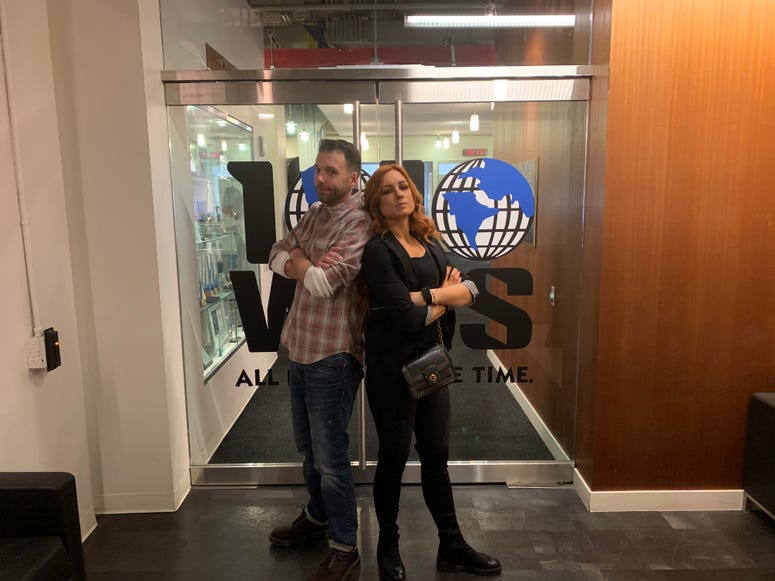 Becky Lynch and Walter Geis at 1010 WINS