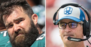 Jason Kelce and Frank Reich