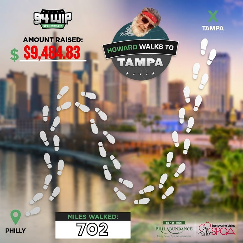 Howard Eskin walks to Tampa
