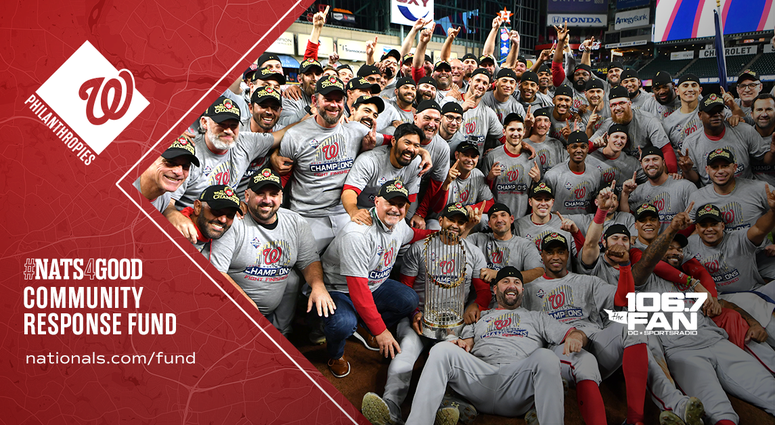 The Washington Nationals celebrate their 2019 World Series victory.