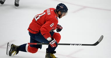 Washington Capitals left wing Alex Ovechkin celebrates his goal during the third period of the team's NHL hockey game against the Los Angeles Kings, Tuesday, Feb. 4, 2020, in Washington. The Capitals won 4-2.