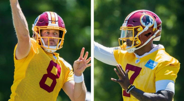 Redskins quarterbacks Case Keenum and Dwayne Haskins