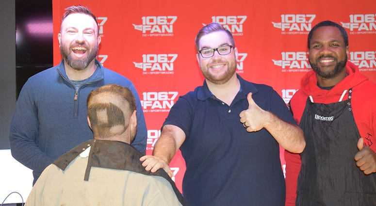 WJFK-FM's Chris Russell with Danny Rouhier and Grant Paulsen. Russell lost a bet and then lost his hair on the air on Thursday, December 12.