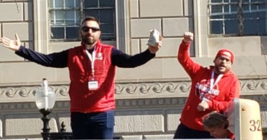 "Grant Paulsen and Danny Rouhier of the ""Grant & Danny Show"" take part in the Washington Nationals victory parade in Washington, D.C. on Saturday, November 1."