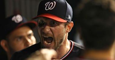 Despite broken nose, Nationals pitcher Max Scherzer strikes out 10 Phillies.