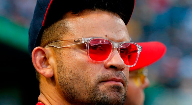 Gerardo Parra of the Washington Nationals wearing his famous red-tinged sun glasses.