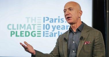 Amazon CEO Jeff Bezos announces the co-founding of The Climate Pledge in Washington D.C.