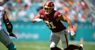 Washington Redskins' Ryan Kerrigan rushes the quarterback against the Miami Dolphins.