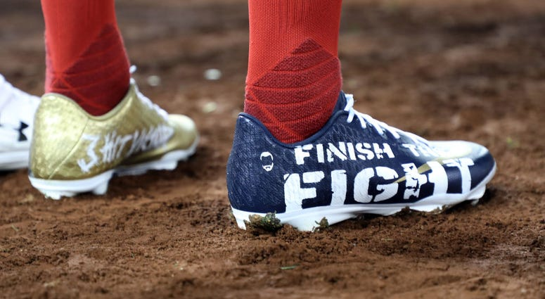 A view of the cleats worn by Victor Robles of the Nationals against the Houston Astros in Game Four of the 2019 World Series at Nationals Park.