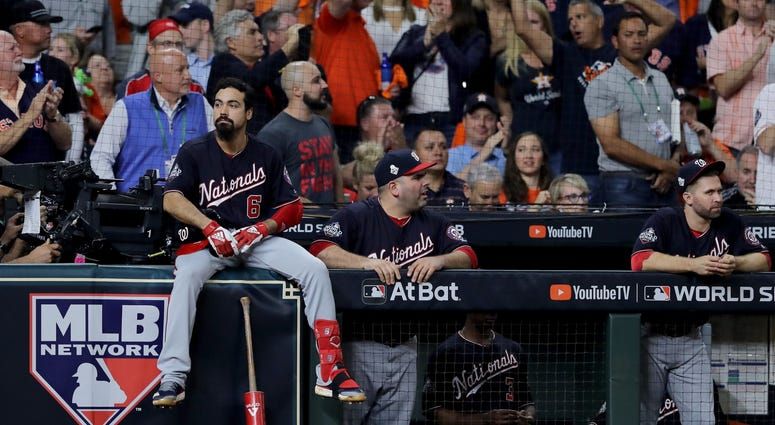 Anthony Rendon waits for the umpires to make a call in Game 6 of the World Series.