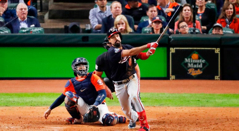 Anthony Rendon hits a solo home run in the seventh inning in Game Seven of the World Series.
