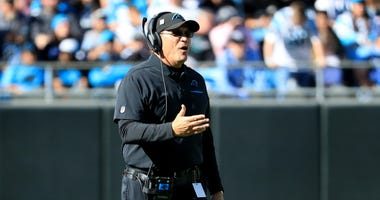 Ron Rivera of the Carolina Panthers reacts after a play during their game against the Tennessee Titans.