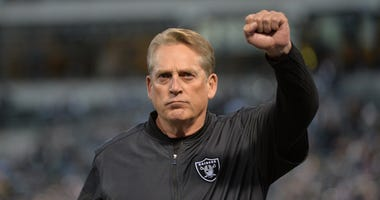 Jack Del Rio as head coach of the Oakland Raiders prior to their game against the Dallas Cowboys.