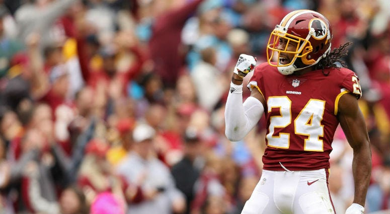 Redskins CB Josh Norman celebrates during a game against the Panthers.