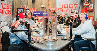 The Junkies get some time with the World Series Trophy