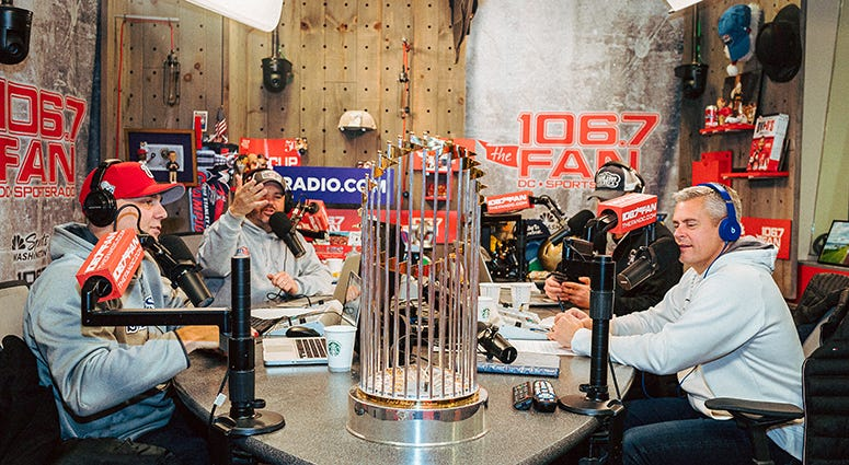 A brush with glory: The Sports Junkies visit with the World Series Trophy