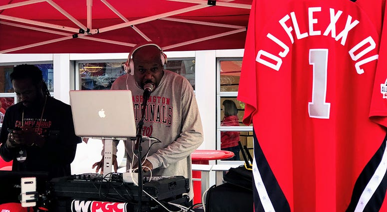 WPGC-FM's DJ Flexx was spinning all weekend on the concourse at Nationals Park.