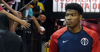 Wizards forward Rui Hachimura prepares to take the court for an NBA Summer League game.