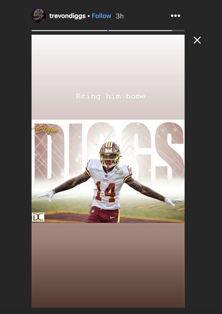 Tevon Diggs created a stir when he posted picture of Stefon Diggs in a Redskins uniform.