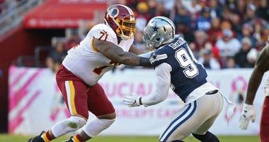 Redskins LT Trent Williams blocks against the Cowboys.