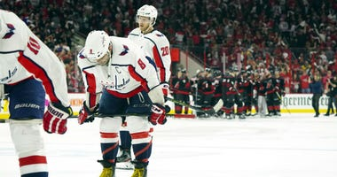 Washington Capitals fall in Game 4, Hurricanes even series.
