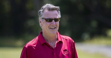 Washington Redskins team president Bruce Allen looks on during minicamp.