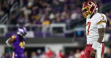Dwayne Haskins looks on during the fourth quarter against the Minnesota Vikings.