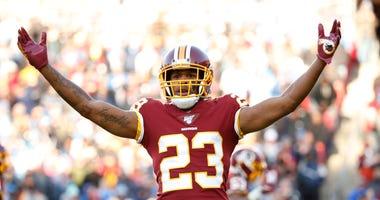 Washington Redskins cornerback Quinton Dunbar reacts after a play against the Detroit Lions.