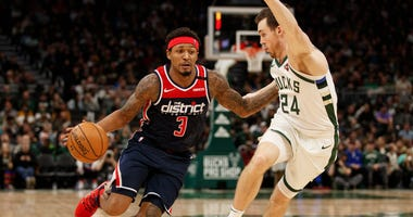 Washington Wizards guard Bradley Beal drives for the basket against Milwaukee Bucks.