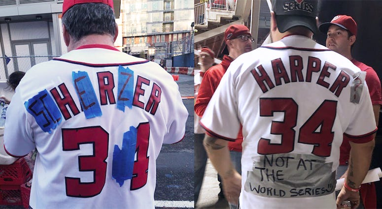 Baseball fans transform their Bryce Harper jerseys for the World Series. Harper signed with the rival Phillies in the offseason.