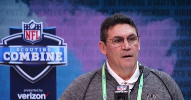 Ron Rivera speaks at the NFL Scouting Combine