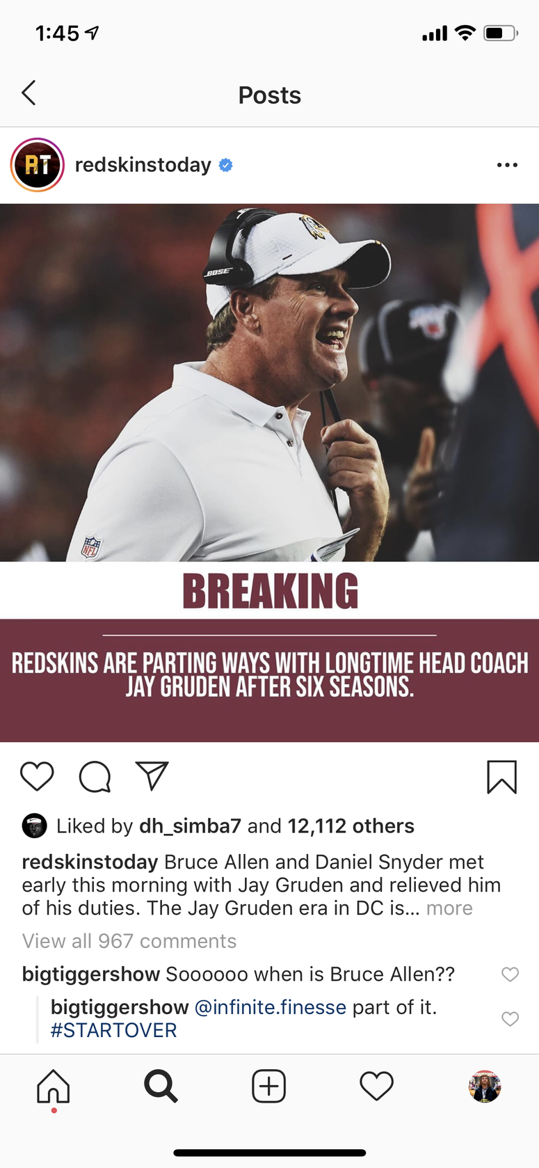 Dwayne Haskins likes an Instagram post about Jay Gruden's firing