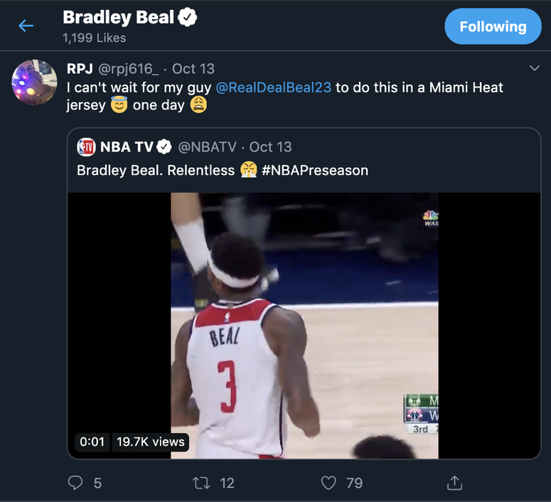 Bradley Beal 'liked' Tweet linking him to Heat