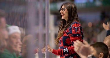 Social media personality Mia Khalifa watches the Washington Capitals.